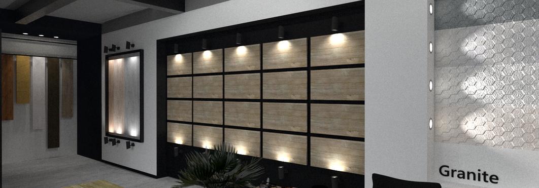 Sala de ventas, materiales y acabados