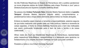 Nota conjunta da Maçonaria Pernambucana