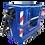 Canastillo biplaza de fibra de vidrio azul con freno o estabilizador, marca Ormet, modelo CES 1VE