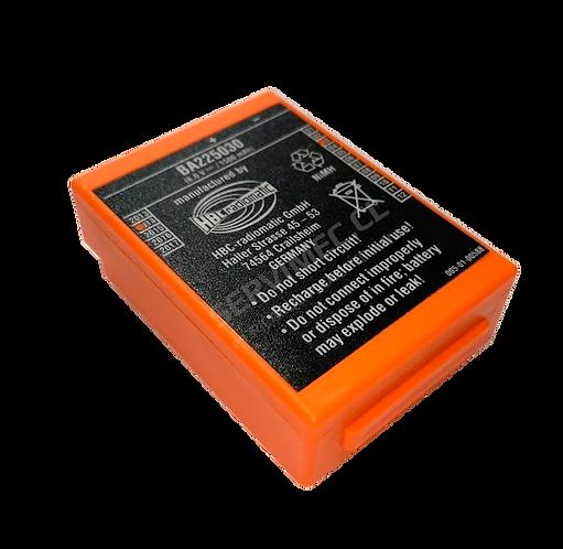 Vista superior de batería BA225030 HBC Radiomatic de color anaranjado