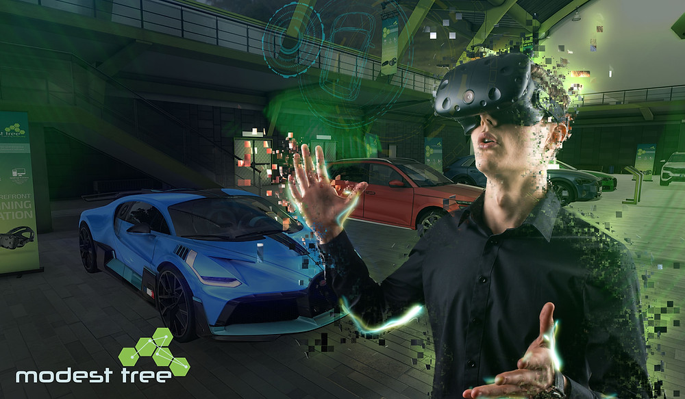 Virtual Reality user finds himself in a virtual automotive environment