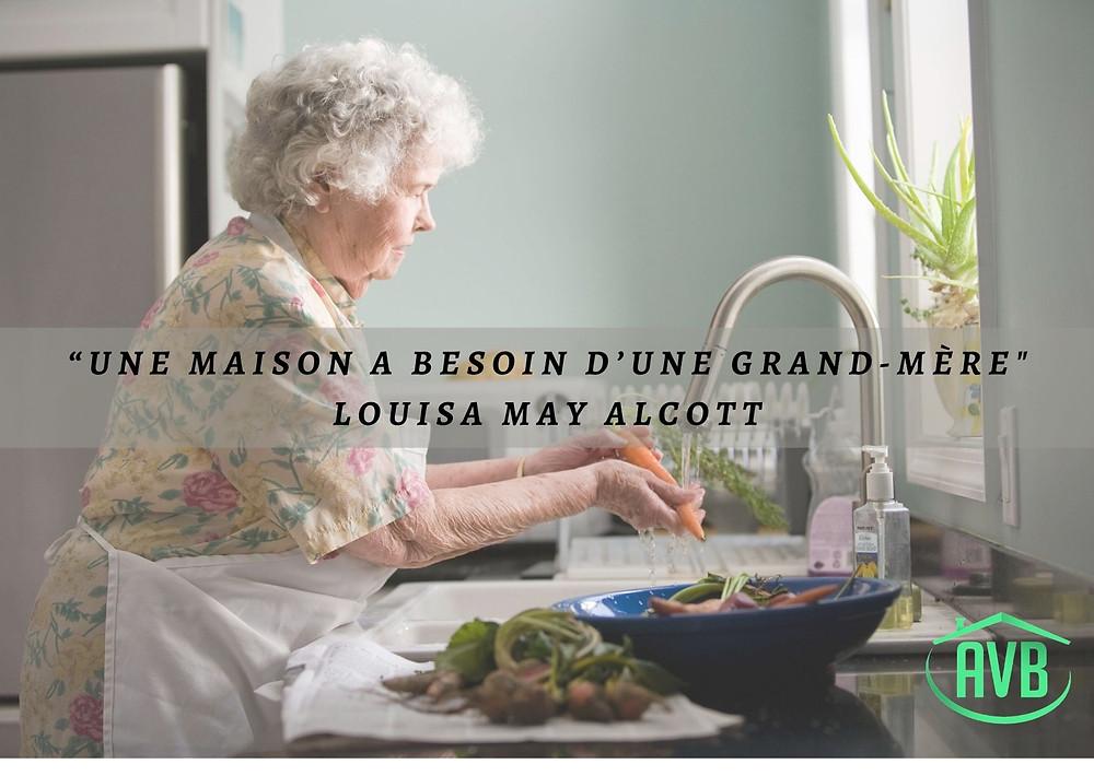 maison, cuisine, grand-mère, personne agées, mamie,
