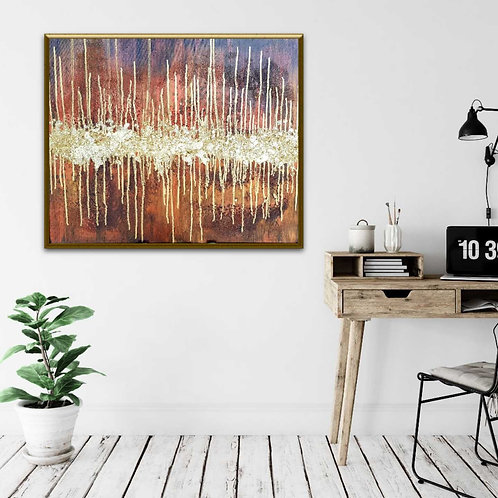 Bronze & Gold Abstract Art, Gold leaf