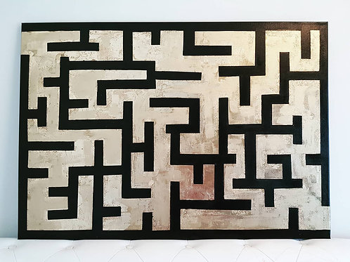 Black and Gold Painting, Golden Maze