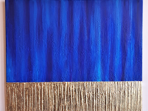 Blue & Gold Abstract Art, Gold leaf