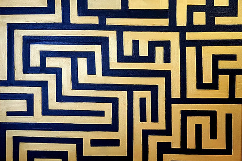 Black and Gold Maze 2 , Luxury Art by Snehita