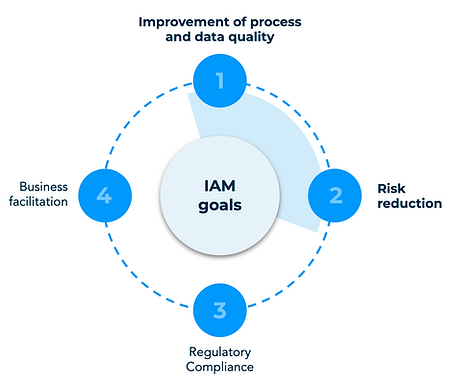 Wheel of Identity & Access Management Goals: Improvement of process and data quality, risk reduction, regulatory compliance and business facilitation