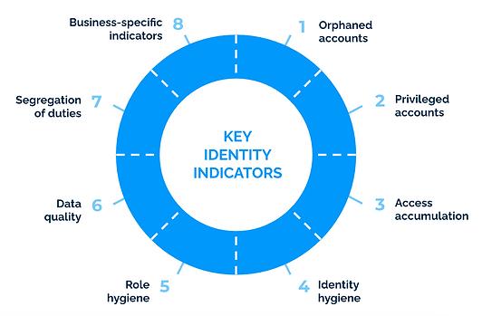 Identity wheel with 8 key identity indicators