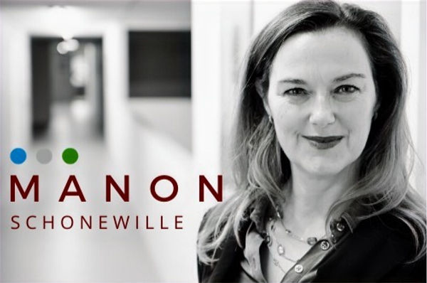 Manon b/w picture and logo