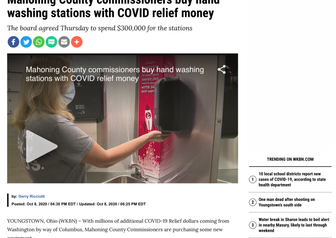 Mahoning County Commissioners Buy Hand Washing Stations with COVID Relief Money