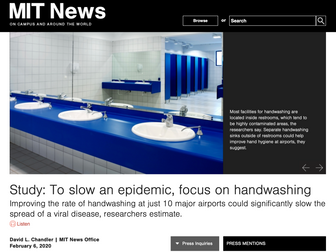 MIT News: Study: To slow an epidemic, focus on handwashing