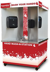 Personal Protected, Quad-sink, hand wash station, mobile, stainless, touchless