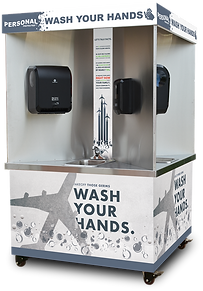 Personal Protected, Quad-sink, hand wash station, mobile, stainless, touchless, Airport