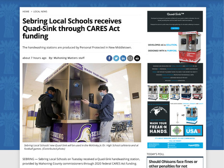 Sebring Local Schools receives Quad-Sink through CARES Act funding