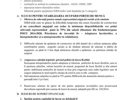 MĂSURI NECESARE PENTRU SPRIJINIREA IMM-URILOR PENTRU REDUCEREA EFECTELOR EPIDEMIEI DE COVID-19