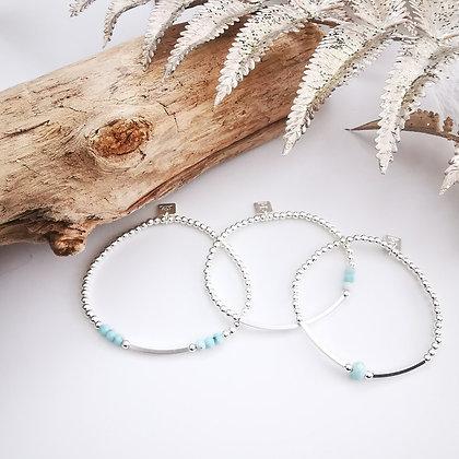 Bracelet perles argent & Larimar