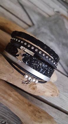 Manchette étoile noir caviar