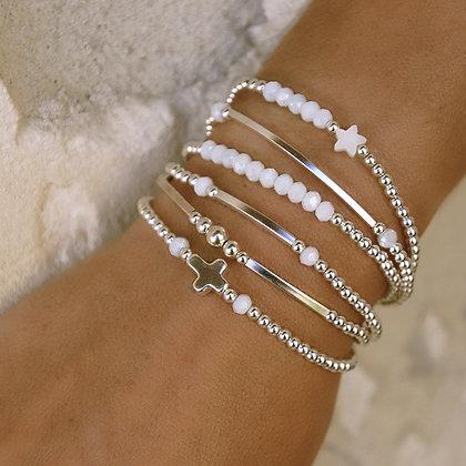 """Bracelet """" Incontournable """" perle d'argent et pierre"""