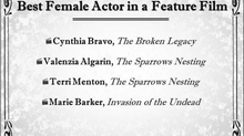 Best Female Actor in a feature film Nomination