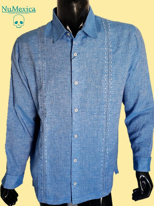 Camisa tipo Guayabera M/L bordado gris