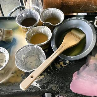 heating the encaustic wax