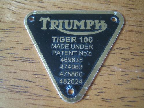 Triumph Patent Plate, Tiger 100. 70-1678