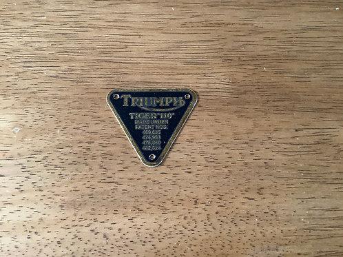 Patent Plate, 'Tiger 110', 70-2910. C282D