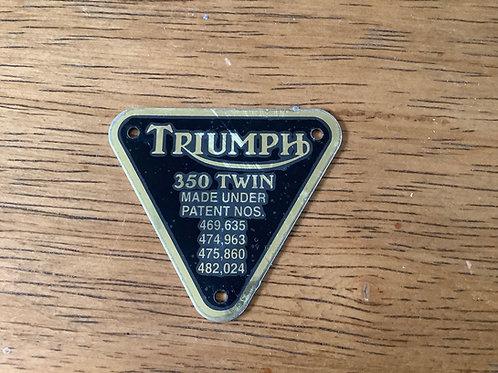 Patent Plate, '350cc Twin', 70-4016, C282FD