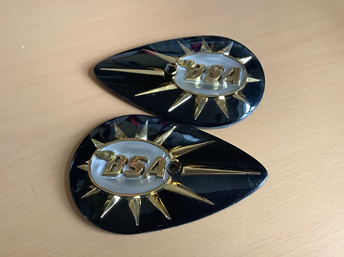BSA Pear-shaped Petrol Tank Badges, Black. 40-8122/8123. C273A