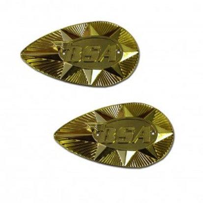 Petrol Tank Badges, Gold, Pear Shaped, 27747