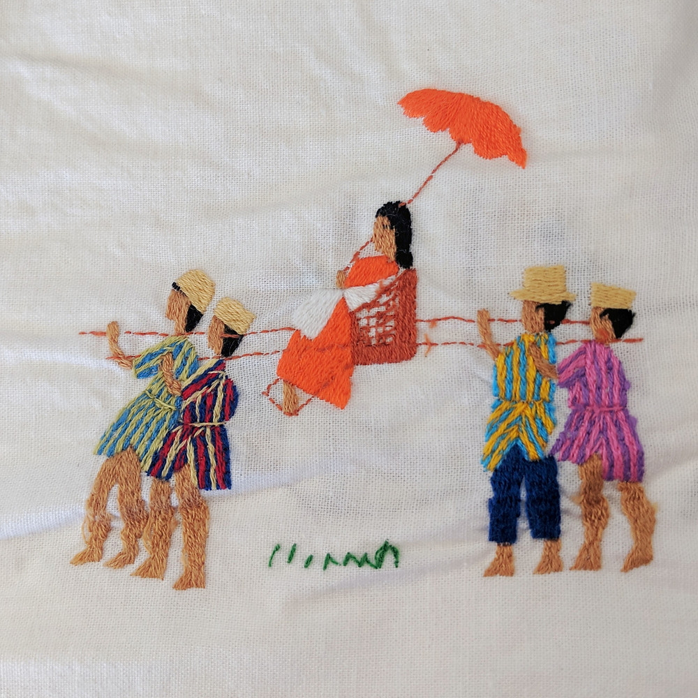 Embreoidery, woman carried by 4 men. Madagascar circa 1990