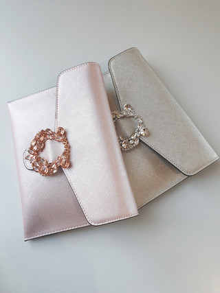 Annalee crystal trim clutch - rose and silver