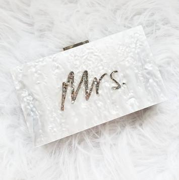 Mrs. glitter acrylic clutch - silver