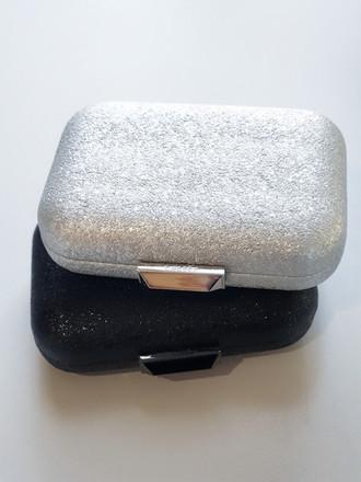 Lenny Metallic clutch - silver and black