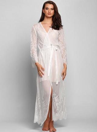 Berson Long Lace Stripe Robe