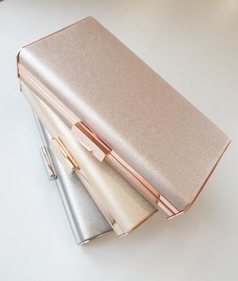 Precious metallic clutch - rose gold, gold and silver