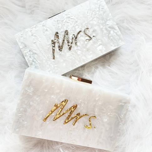 Mrs. glitter acrylic clutch - silver and gold