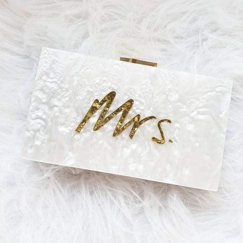 Mrs. glitter acrylic clutch