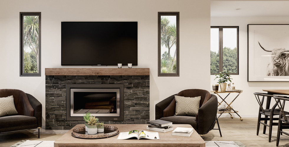 Living Room with Schist Fireplace