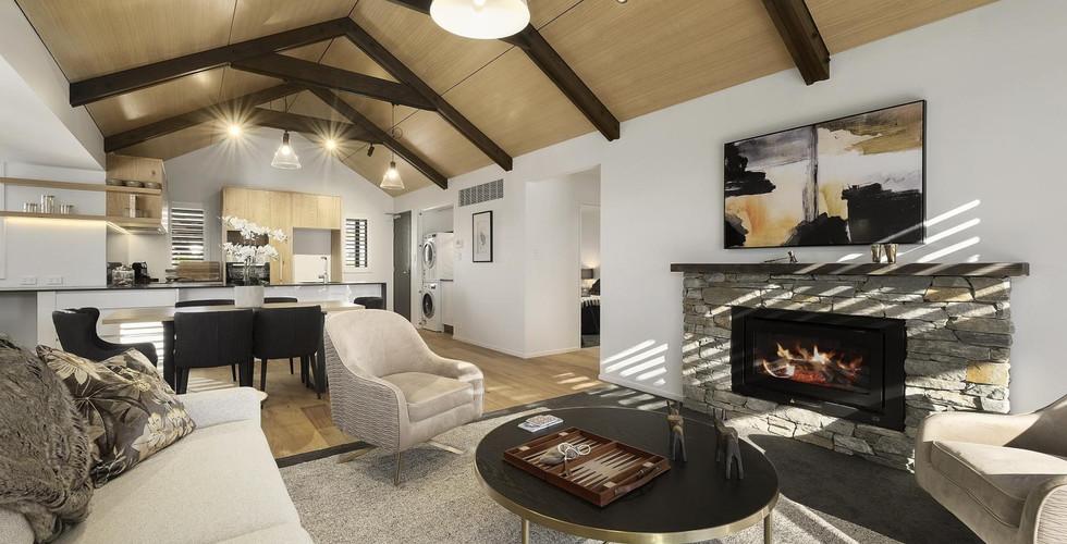 Harris Townhouse - Schist Fireplace