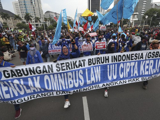Nationwide Protests in Indonesia as Controversial Omnibus Bill Moves Forward