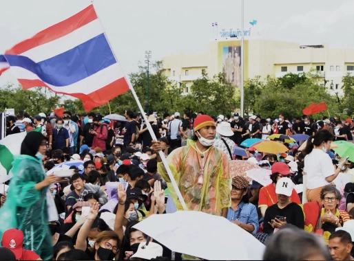 A Plaque Symbolizing Thailand's Growing Democracy Protest Movement Disappears