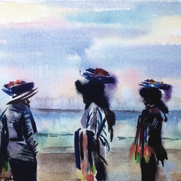 Balinese saleswomen.