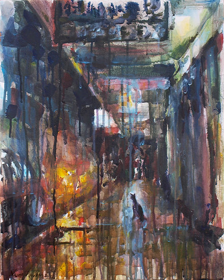 Street after rain, 40x50cm, 2016