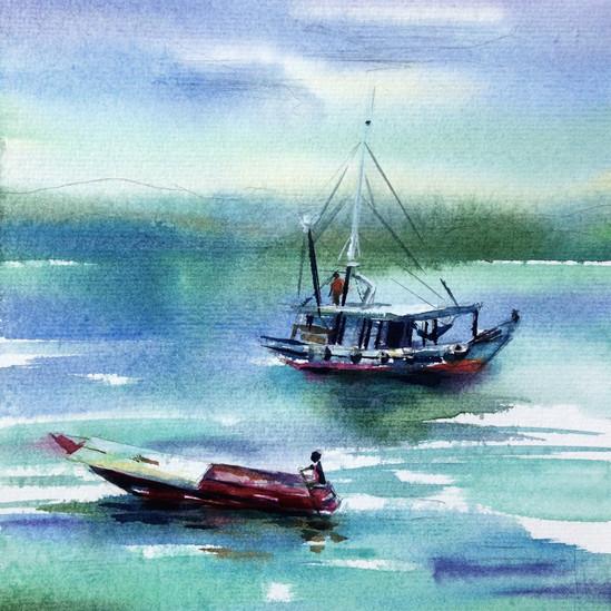 In harbor of Borneo.