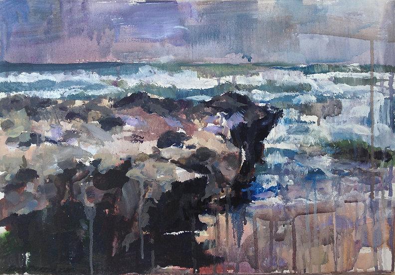 Rock on the ocean, 35x50cm, 2015