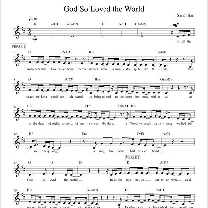 God So Loved the World - Sheet Music