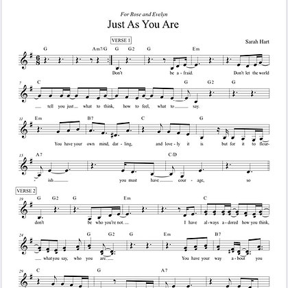 Just As You Are - Sheet Music