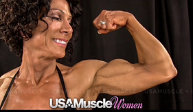 MuscleMakerSue backstage at the 2013 NPC Nationals.  Photograph taken by USA Muscle Women