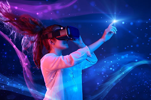 Woman with glasses of virtual reality. F